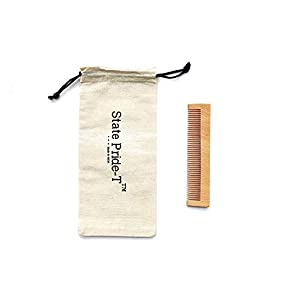 State Pride-T wooden comb for men and women pack of 1 with Free Cotton Pouch