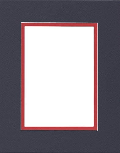 Pack of 2 16x20 Double Acid Free White Core Picture Mats Cut for 11x14 Pictures in Real Red and Black