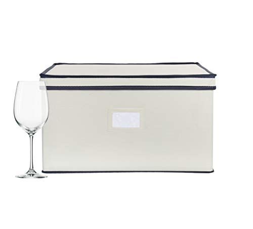 Chapman & Grand Wine Glass Storage Chest, Protective Container Box with Lid for Stemware | (Light Beige/Navy) - Wine Storage Container