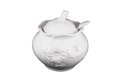 Porcelain Sugar Bowl with Lid and Spoon (Center Sugar Bowl)