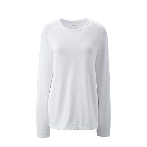 etite Supima Cotton Long Sleeve T-Shirt - Relaxed Crewneck, M, White ()