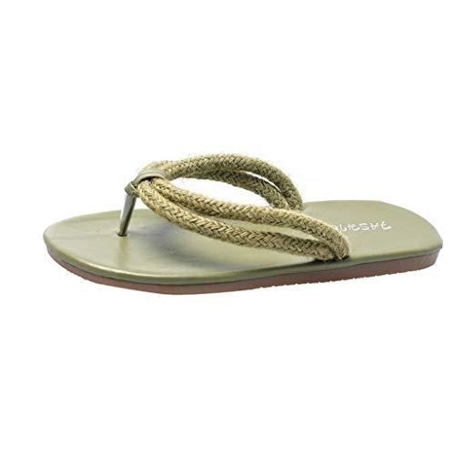 - Aunimeifly Women Woven Rope Band Flip Flops Summer Beach Sandals Solid Color Flat Ladies Flatform Slides Green