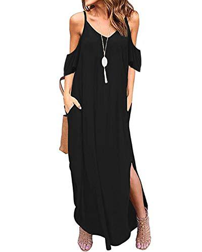 (ACHIOOWA Womens Off The Shoulder Ruffle Party Dresses Summer Casual Side Split Long Beach Maxi Dress Black M)