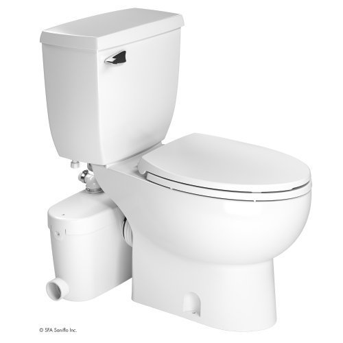 SANIFLO SANIACCESS 3 UPFLUSH MACERATOR PUMP + ELONGATED TOILET KIT, WHITE FINISH by Saniflo