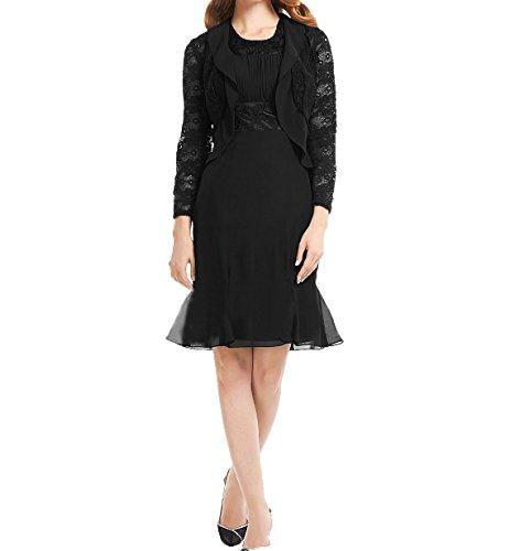 Charmant Etuikleider Damen Abendkleider mit Elegant Jaket Chiffon Ballkleider Langarm Schwarz Brautmutterkleider Partykleider qarq0w