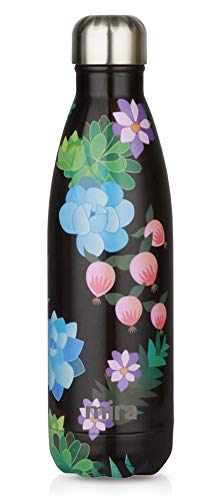 MIRA Stainless Steel Vacuum Insulated Water Bottle | Leak-Proof Triple Walled Cola Shape Bottle | Keeps Drinks Cold for 24 Hours & Hot for 12 Hours (Paradise, 17 oz)