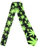 Outer Rebel Fashion Tie- Black with Green Marijuana Leaves