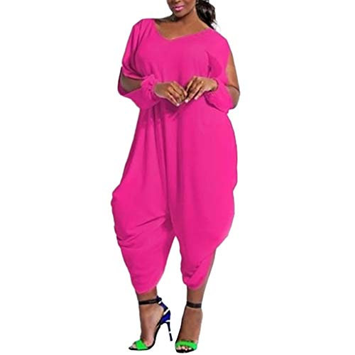 Cardigo Womens Loose Solid Color V Neck Long Sleeve Hollow Out Jumpsuit Playsuit Hot Pink