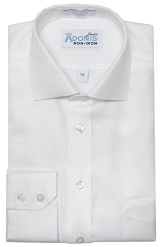 (Adonis Shirts Inc. Boys 100% Cotton Non Iron White-On-White 'Bold Twill' Button Cuff Dress Shirt)