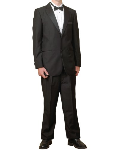 New Mens Black 2 Button Tuxedo - 5pc (Jacket, Pants, Shirt, Bow Tie, Cummerbund)