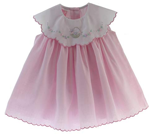 Willbeth Girls Pink Summer Dress Sleeveless with White Scalloped Collar 6M