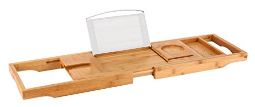 Tub Caddy (Luxury Bamboo Bathtub Caddy / Tray with Extendable Arms - Includes Book / Tablet Stand, Glass Holder, Phone Compartment, and Rubber Pads to Prevent Slipping - Fits Any Tub Size)