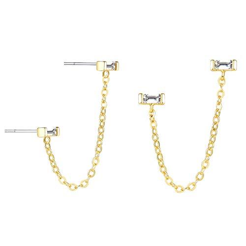 (LOYATA Open Triangle Geometric Earring, 14K Gold Plated Unique Piercing Stud Earring Ear Jacket Dangle Earrings for Women (Chain))