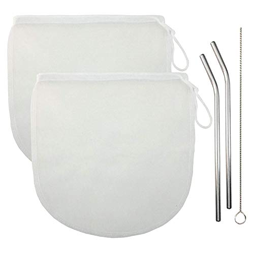 """Price comparison product image Set of 5 - TWO Reusable Large Nut Milk Bag Mesh Filter Strainer (12"""" x 12"""") for Almond,  Badam,  Hemp,  Nut,  Cashew,  Walnut Milk,  Juice,  Cheese and Cold Brews with TWO Reusable Stainless Steel Straws"""