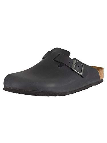 Birkenstock Men's Boston BS Leather Sandals, Black, 10 US