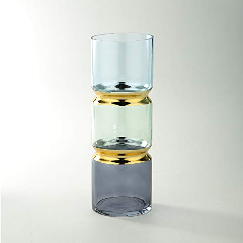 (CC Home Furnishings Multi-Colored Double Gourd Cylindrical Glass Vase)