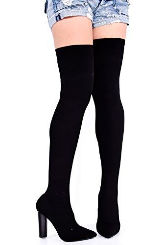 Lolli Couture Elegans Konstläder Dragkedja Över Knäet Stövlar Plattform Black-m05-16