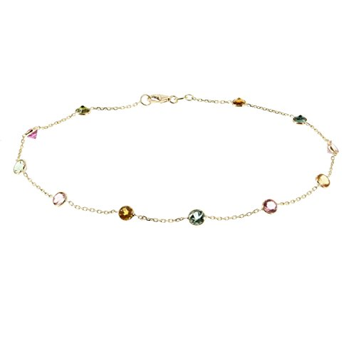 14k Yellow Gold Handmade Station Anklet With Tourmaline Gemstones 9 - 11 Inches by amazinite