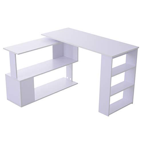 HOMCOM 360° Rotating Home Office Corner Desk and Storage Shelf Combo Modern L Shaped Rotating Computer Desk with Bookshelves - White ()