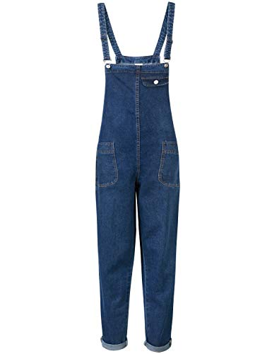 Yeokou Women's Casual Denim Cropped Harem Overalls Pant Jeans Jumpsuits_Large_Blue ()