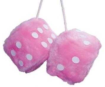 Fluffy Pink Car Mirror Hanging Furry Dice: Amazon.co.uk: Garden ...