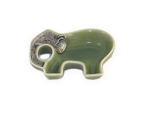 Elephant Porcelain Dipping Soy Sauce Dish in Jade Green Celadon Color with