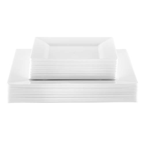 NYHI 50-Pack Square Premium Disposable Hard Plastic Dinner and Salad Plates Combo Set - 25x 10.5