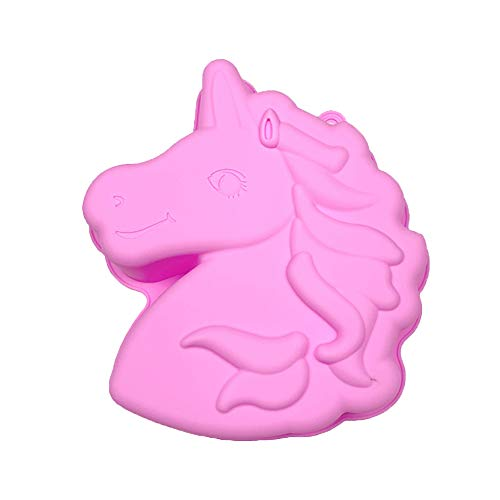 Unicorn Silicone Cake Pan,LQQDD Unicorn Bread Baking Tray Large Non-Stick Silicone Biscuits Dessert Bakeware for Baking DIY Party Decorating Muffin Cake Mold