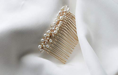 Beatrice - pearl hair comb, blush hair accessory, gold wedding hair comb, fresh water pearl hair piece by Shirley & Audrey