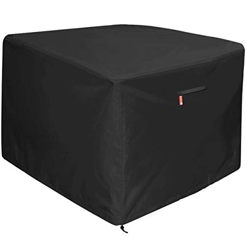 Gas Fire Pit Cover Square - Premium Patio Outdoor Cover Heavy Duty Fabric with PVC Coating,100% Waterproof,Anti-Crack,Fits for 30 inch,31 inch,32 inch Fire Pit / Table Cover (32L x 32W x 24H,Black)