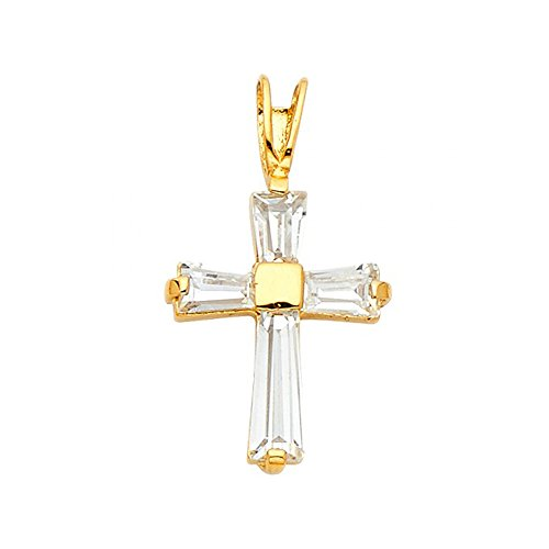 14k Yellow Gold Tapered Baguette Cubic Zirconia Cross Pendant 14k Yellow Tapered Baguette