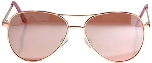 Aviator Women Men Metal Sunglasses Fashion Designer Frame Colored Lens OWL (Gold Rose Aviator, PC - Men Gold Sunglasses Rose
