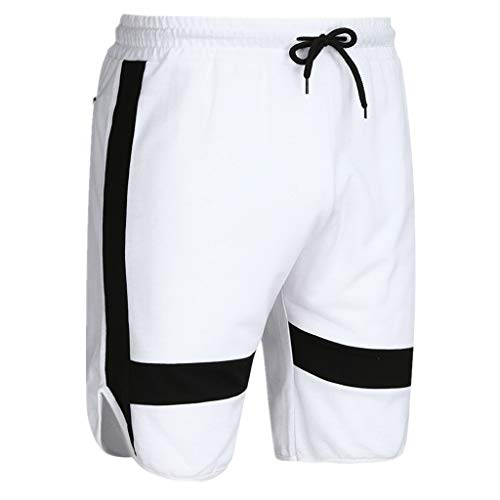 iHHAPY Sweatpants Sports Cropped Men's Casual Shorts Beach Pants Shorts Sports Running Hip Hop Trousers Casual Pant White