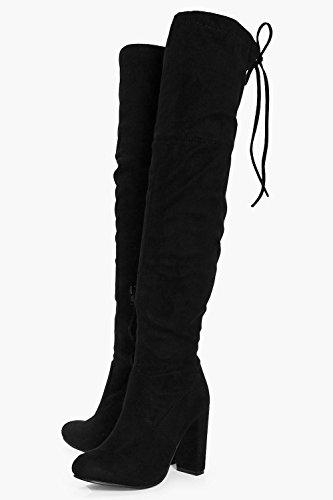 Damen Schwarz Schwarz Blockabsatz Mit Overknee stiefel Rebecca p8wqxUpS
