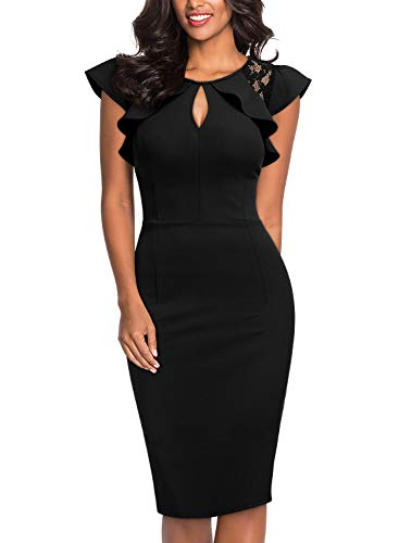 Knitee Women's Ruffle Trimmed Lace Floral Sleeveless Cut Out Bodycon Cocktail Sheath Dress,Small,Black