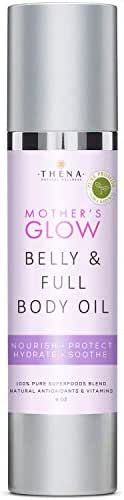 Organic Belly & Body Oil For Pregnancy Helps Prevent Stretch Marks, Best Natural Maternity Skin Care Moisturizer Moisturizing Massage Cream Lotion For Pregnant New Expecting Moms & Women