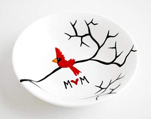 (Cardinal Red Bird Ring Dish - Personalized Gift For Mom, Personalized Jewelry Bowl, Christmas Gift)