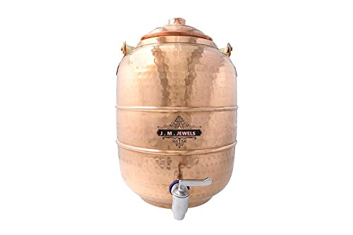 J M JEWEL 100% Pure copper Handcrafted Hammered Water pot tank, Water Dispenser, Multipurpose Storage Container With Handle 6.5 Liters for Ayurveda Health Benefit by J M JEWELS