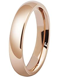 Womens 4mm Stainless Steel Rose Gold Simple Style Wedding Ring Engagement Band High Polished Comfort Fit