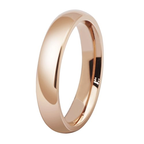 Womens 4mm Stainless Steel Rose Gold Simple Style Wedding Ring Engagement Band High Polished Comfort Fit Size 8 -