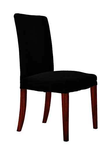 CHUN YI Waterproof Dining Chair Covers Stretch Jacquard Polyester Spandex Small Checks Anti-Stain Washable Dining Room Parsons Chair Slipcovers (2 Pieces, Black) (2 Parson Chair Piece)