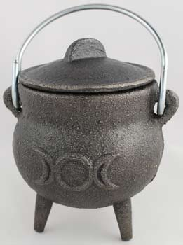 Small Triple Moon Cast Iron Cauldron by Sage Cauldron