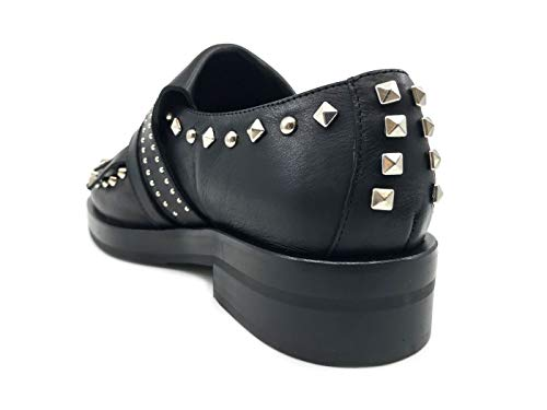 In Toro Pelle Mocassino E Nero 9300 Borchie Ras Black Donna wOxqC5Xna