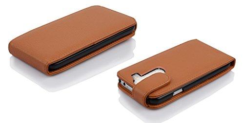 Cadorabo - Funda Flip Style para LG G2 MINI de Cuero Sintético - Etui Case Cover Carcasa Caja Protección en NEGRO-ÓXIDO MARRÓN-COGNAC