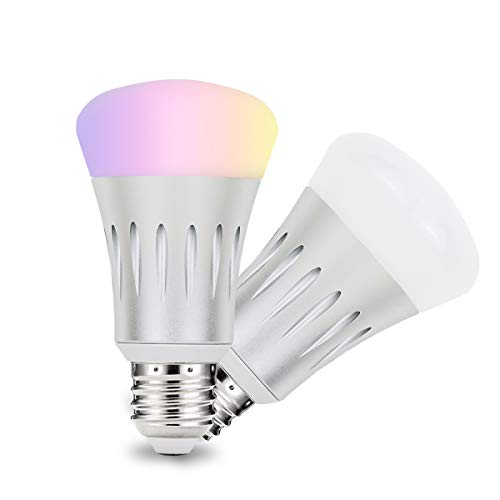 LESENDA WiFi Smart Light Bulb, No Hub Required, A19 / E27/7W(White LED Bulbs 60W Equivalent) RGB Multicolor LED Light Bulb,Compatible with Amazon Alexa and Google Assistant(2 Pack) (Silver) Review