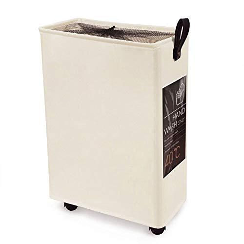 Slim Laundry Basket on Wheels Collapsible Laundry Hamper Rolling Tall Cloth Hamper 6 Cards Home Corner Bin Handy Waterproof Sorter and Organizer Bathroom 15.4×7.3×22