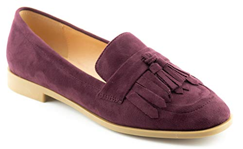 CALICO KIKI Women's Comfort Loafer Flat Shoes - Fringe Tassel Accents Flats Maroon_su