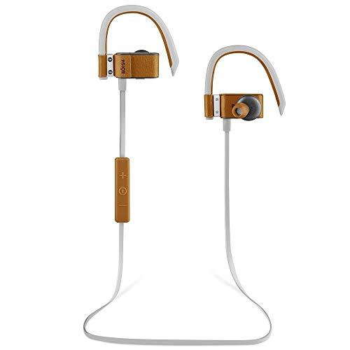 BÖHM S6 Leather Bluetooth Headphones Wireless in-Ear Earbuds Sweatproof Secure Fit Earphones 3D Stereo Sound (Brown)