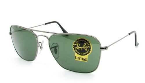 Men's Caravan Rectangular Sunglasses, GUNMETAL, 55 - Hut Ray Sunglasses Bans
