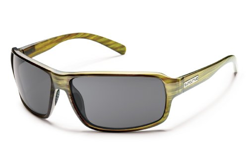Suncloud Tailgate Polarized Sunglasses, Green Stripe Frame, Gray - Sunglasses Warranty Suncloud